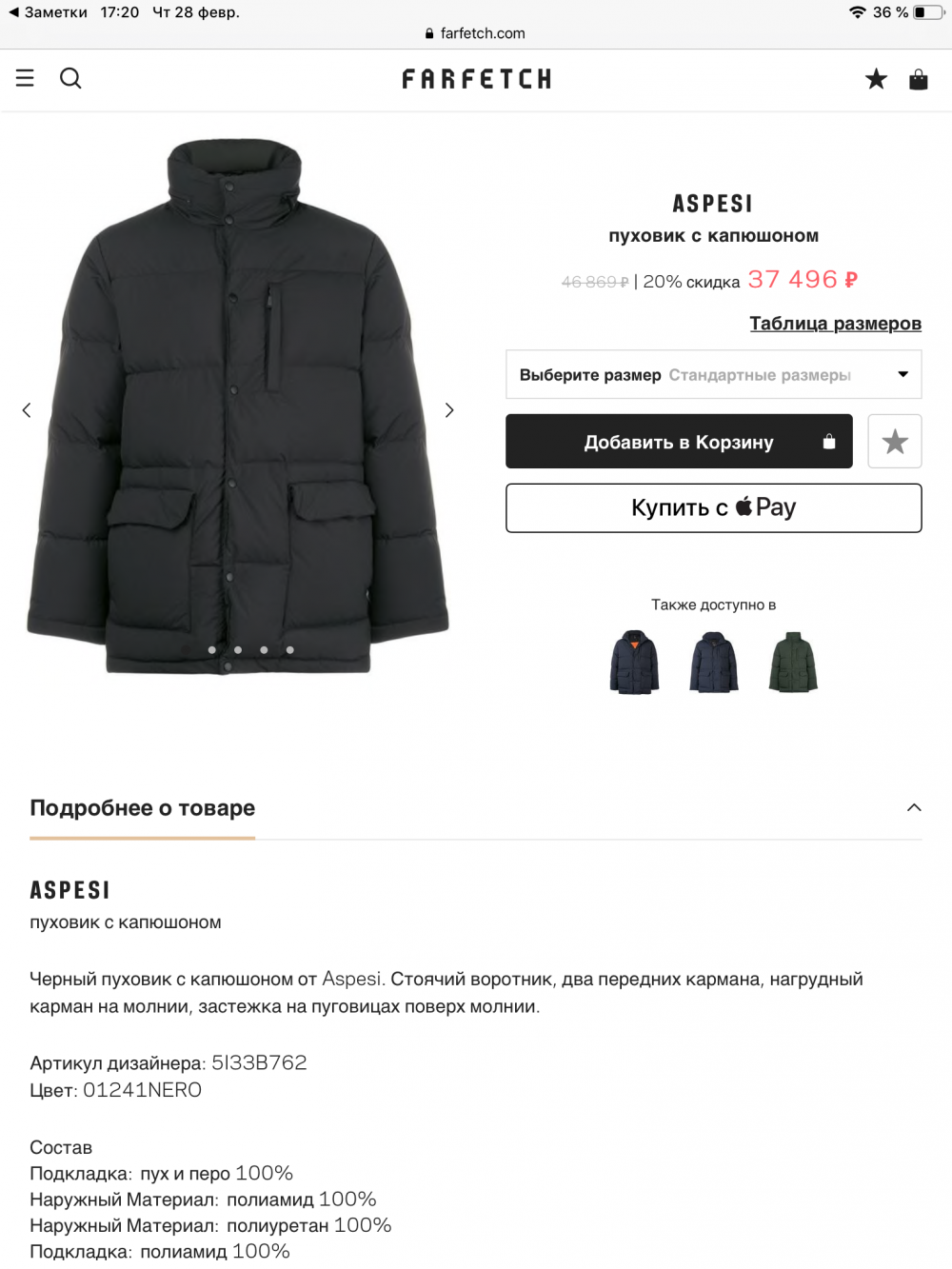 Мужской пуховик ASPESI, XL