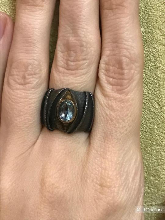 Кольцо с топазом, размер 18.