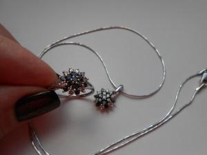 Ювелирный комплект: кольцо р.17,5  ,цепочка и подвеска .
