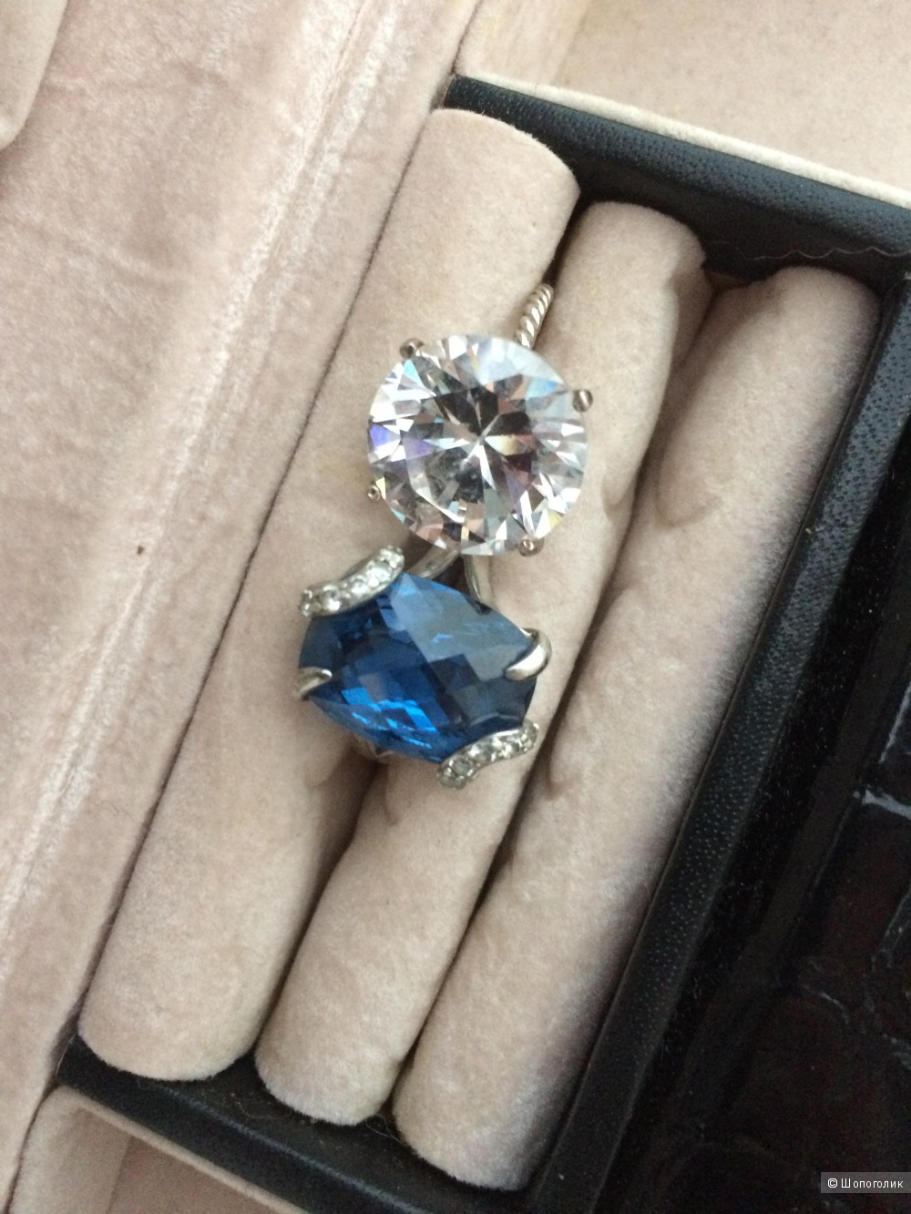 Серебряное кольцо с синим цирконием, valtera,17