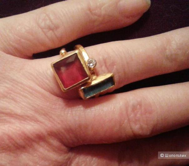 Позолоченное кольцо из стерлингового серебра с БИРЮЗОВЫМ сапфиром, размер 17