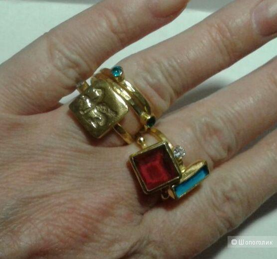Позолоченное кольцо из стерлингового серебра с рубином, размер 17