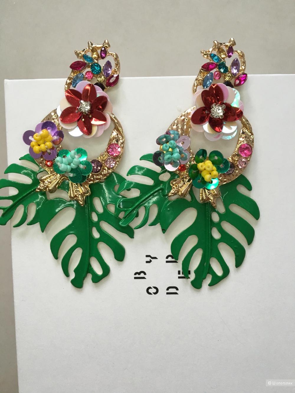 Серьги лепестки пальм с цветами