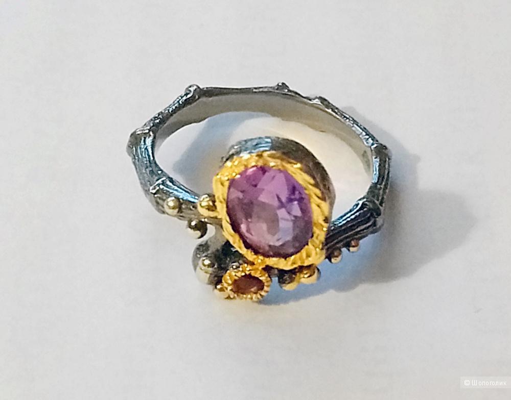 Кольцо серебряное 925 с аметистом 17 размер