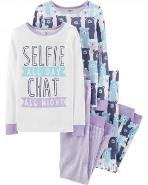 Комплект пижам Carters 4в1 для девочки, размер 7 (122 - 131 см)
