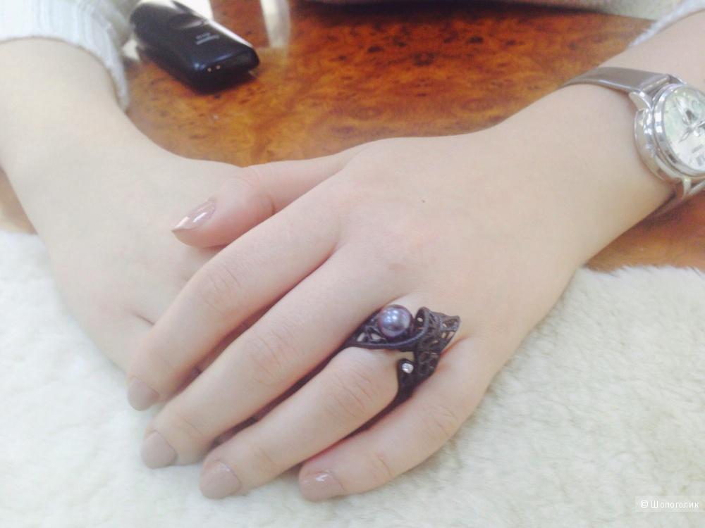 Кольцо из серебра (черненое)