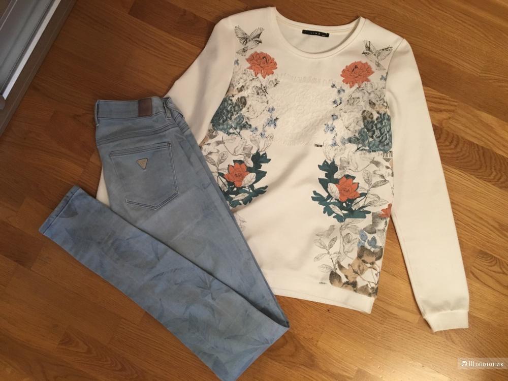 Сет: джинсы Guess, толстовка Lime, футболка paper tee, xxs