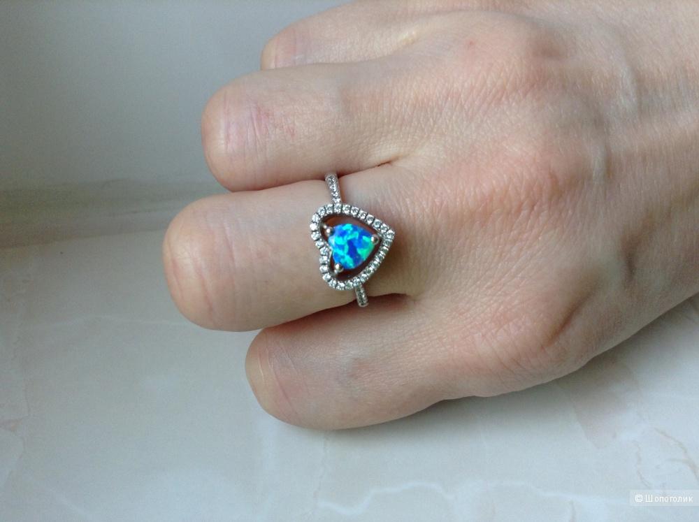 Серебряное кольцо с австралийским опалом, 17,5 размер