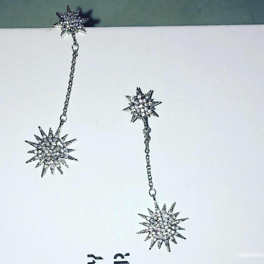 Серьги каметы в кристаллах, Серебро 925.