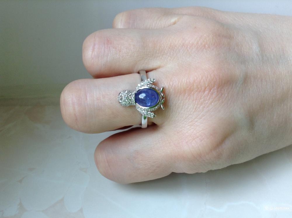 Серебряное кольцо с натуральным танзанитом, 18 размер