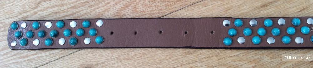 Кожаный ремень с декором под бирюзу р.95