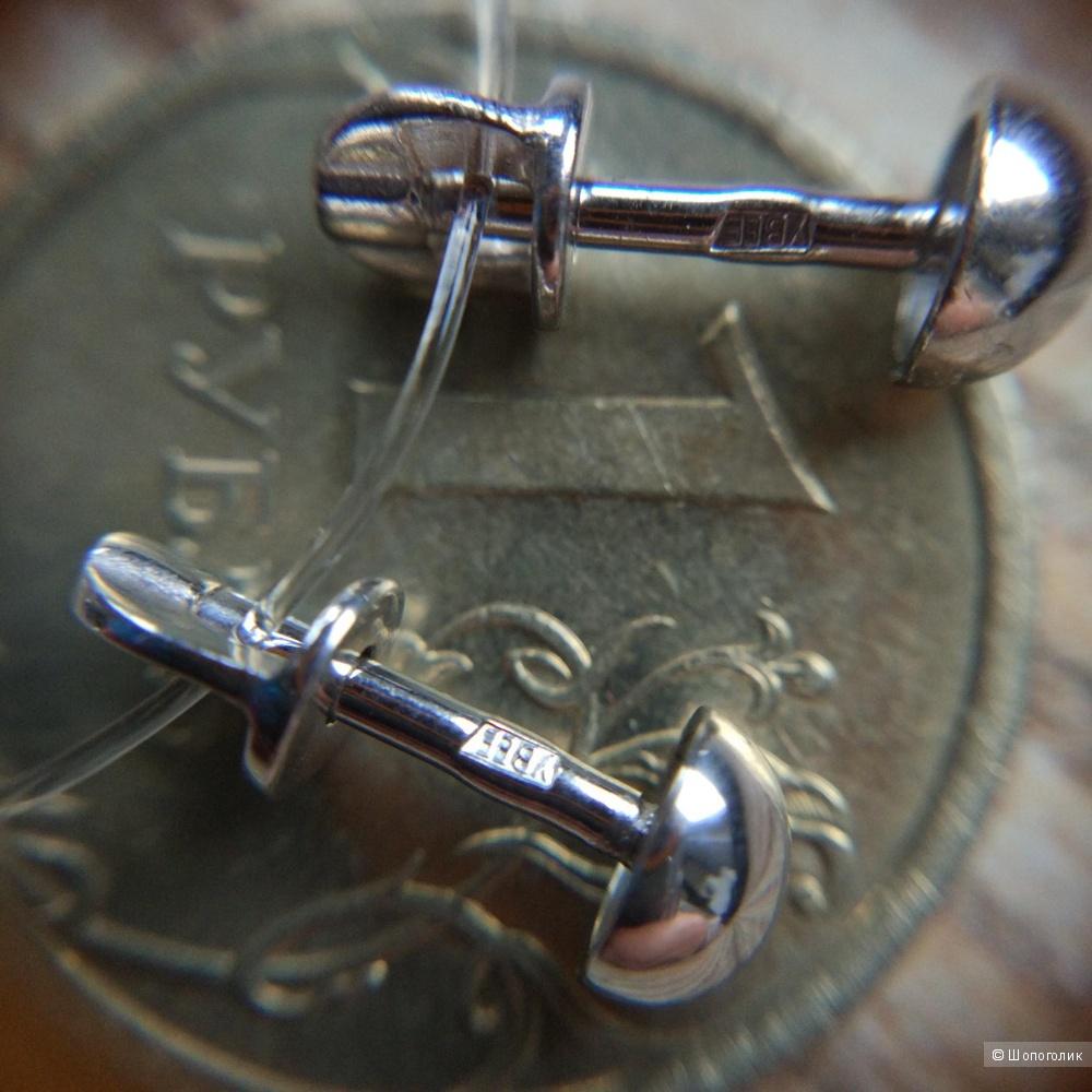 Серьги -пуссеты  из серебра 925 пробы,Lucente