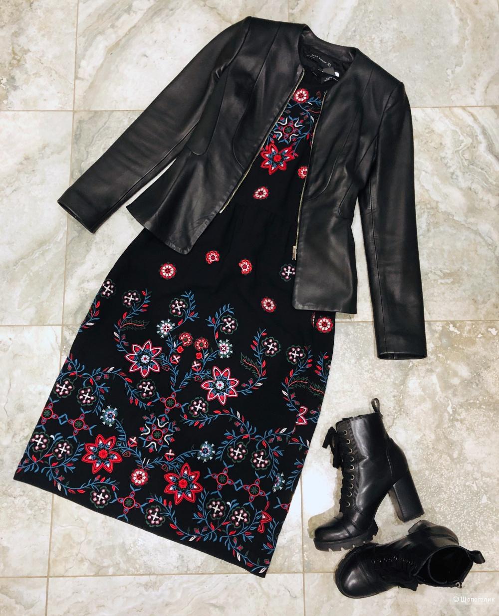 Кожаная куртка с баской Zara, размер xs