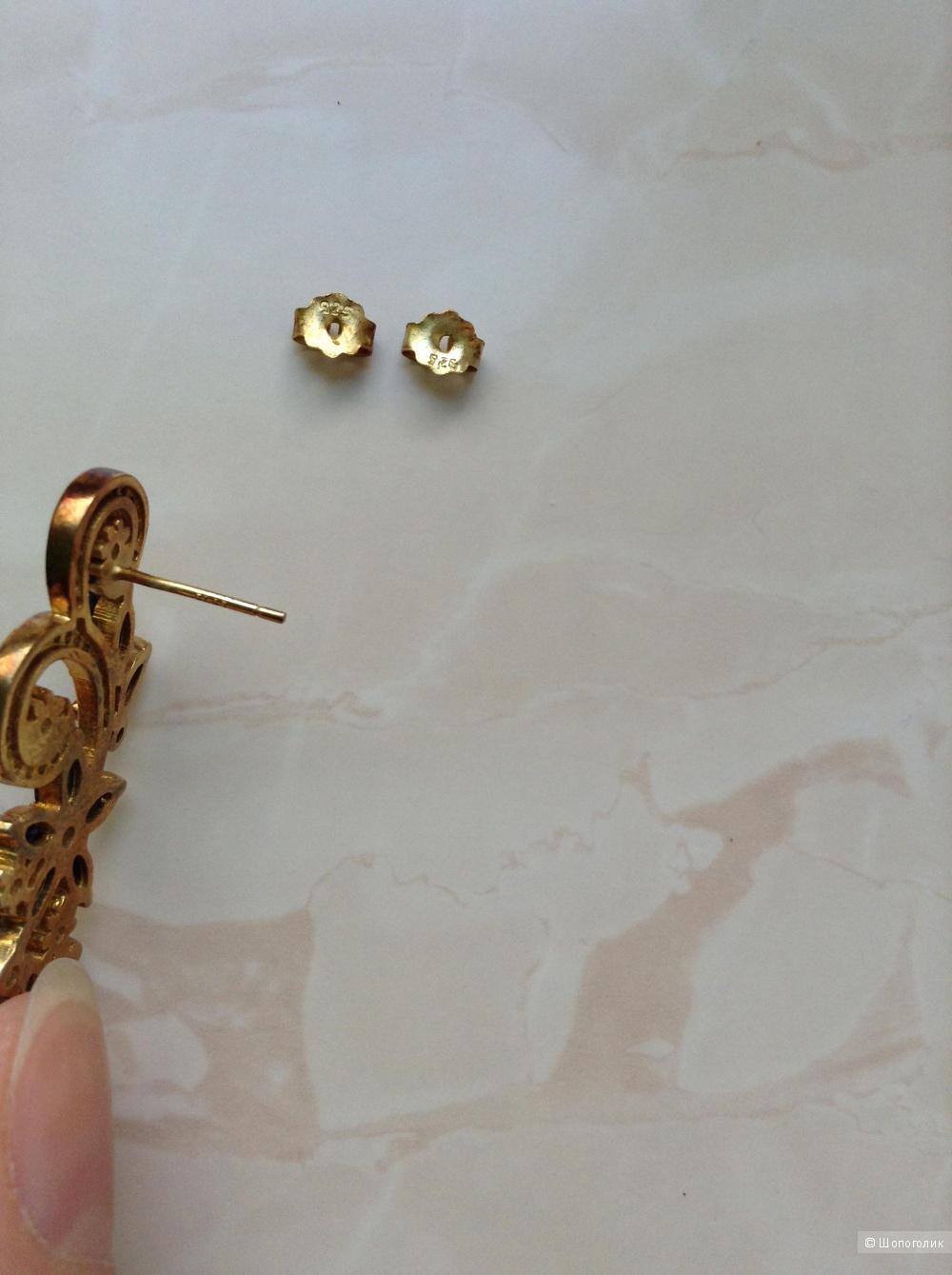 Серебряные серьги с натуральными сапфирами и жемчугом