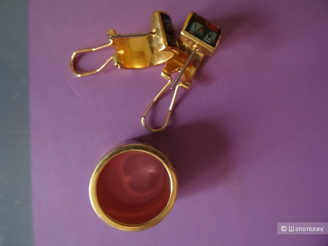 Сет: серёжки,кольцо, размер 17-17,5