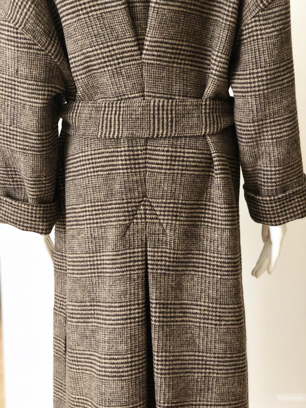 Шерстяное пальто-халат бренда MLS STUDIO, размер free size
