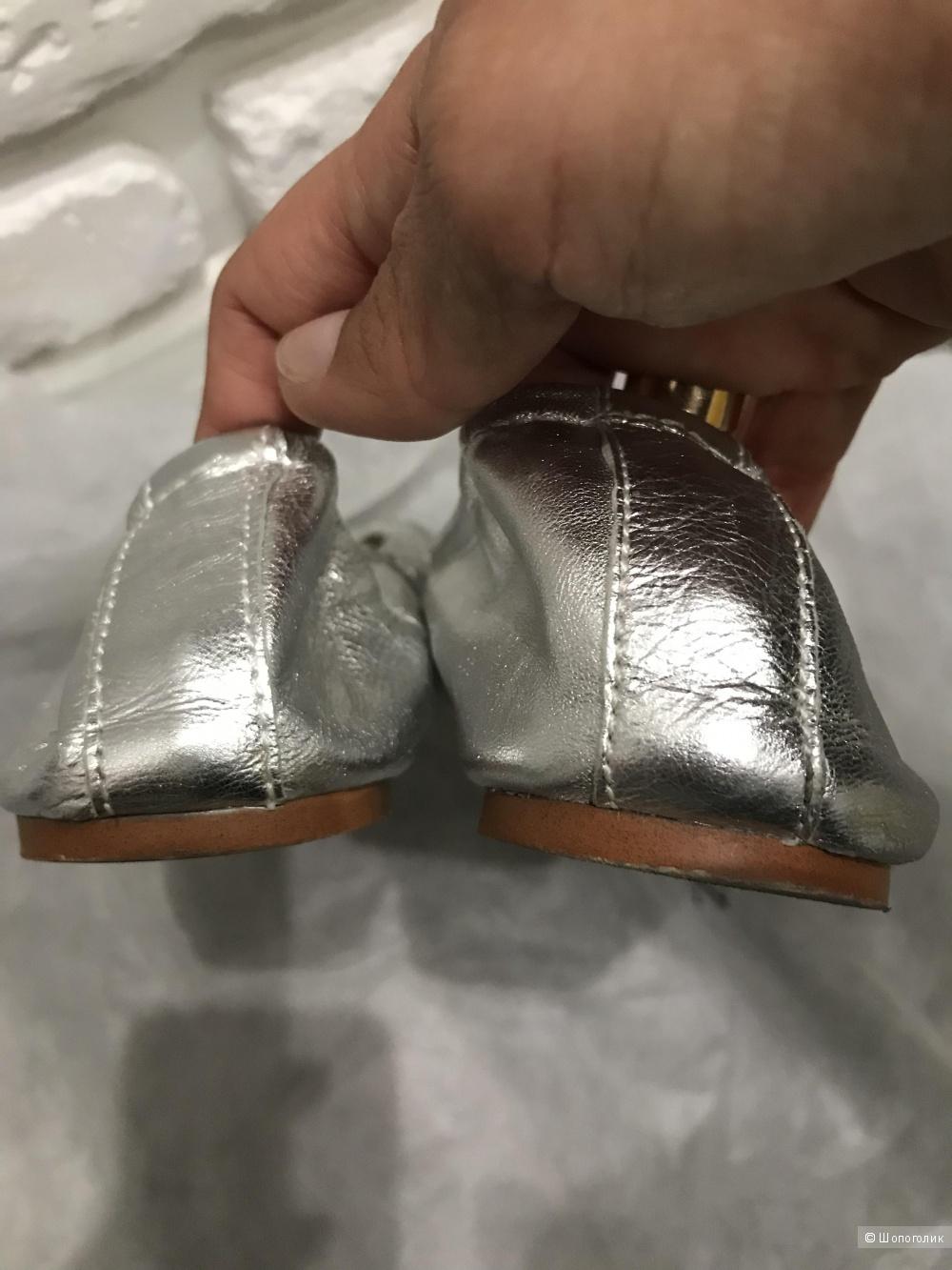 Серебряные балетки Zara 40р/26.2 см