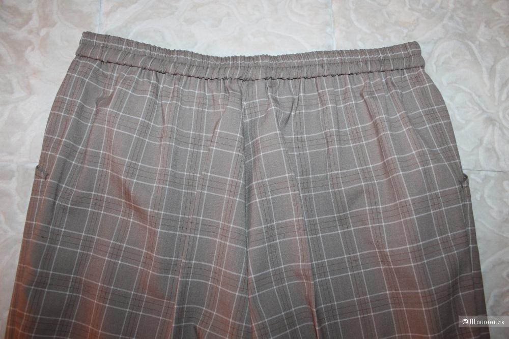 Шерстяные брюки в клетку, размер нем. 21, рос. 50-52