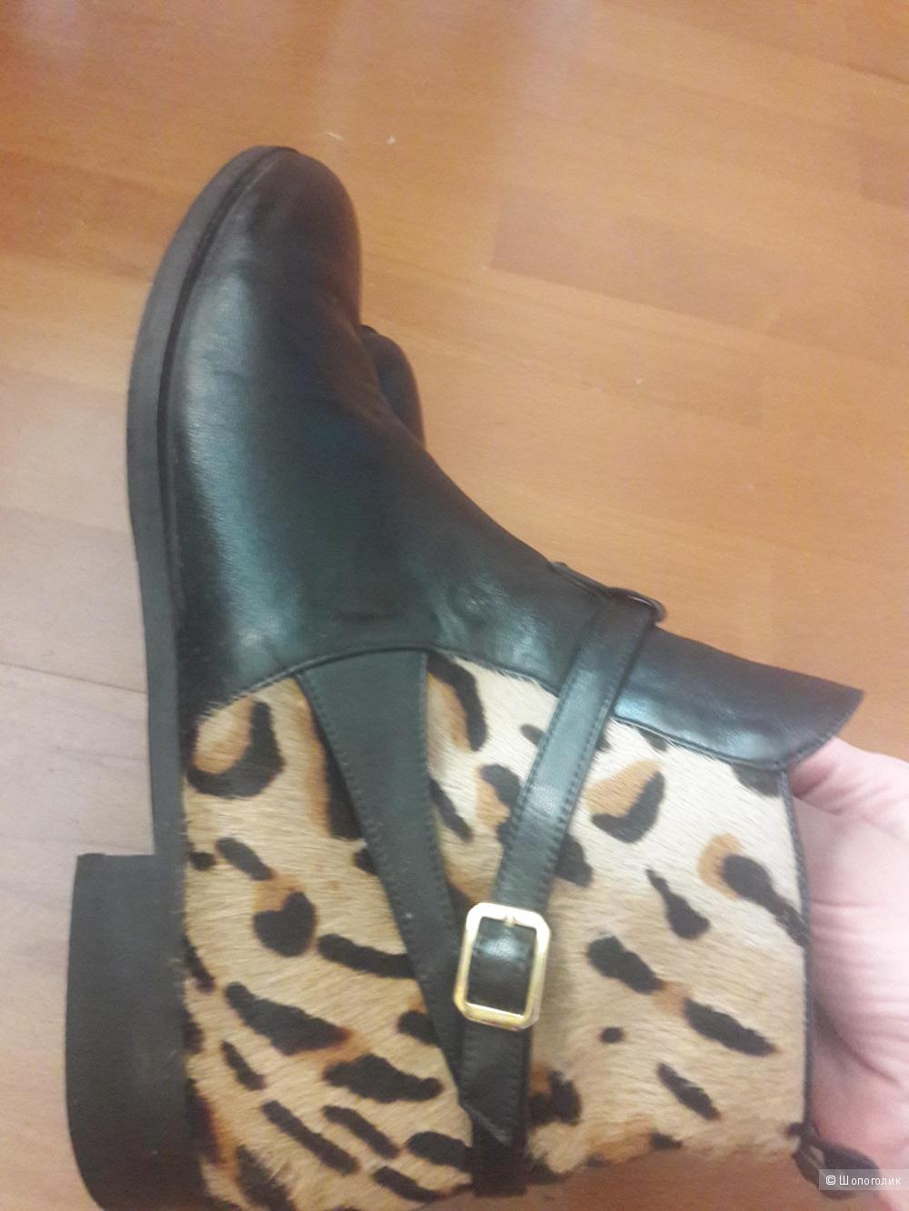 Кожаные ботинки с мехом пони Madeleine 40 -40.5 размера