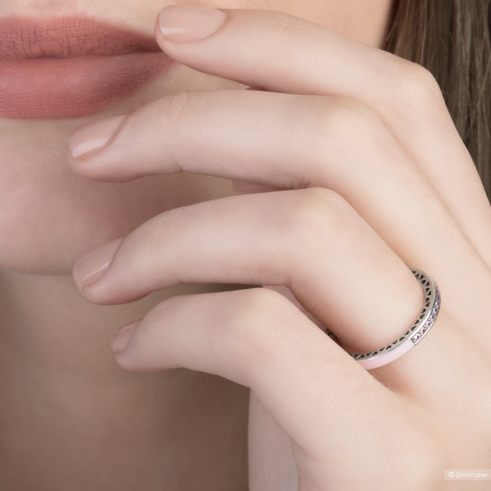 """Кольцо """"Pandora"""", р. 17-18 (серебро 925, эмаль, кристаллы)"""