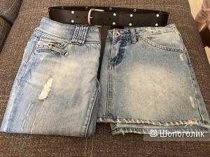 Сет: джинсы Tally weijl размер 44, джинсовая юбка Blasting  42-44, ремень из натуральной кожи ноунейм