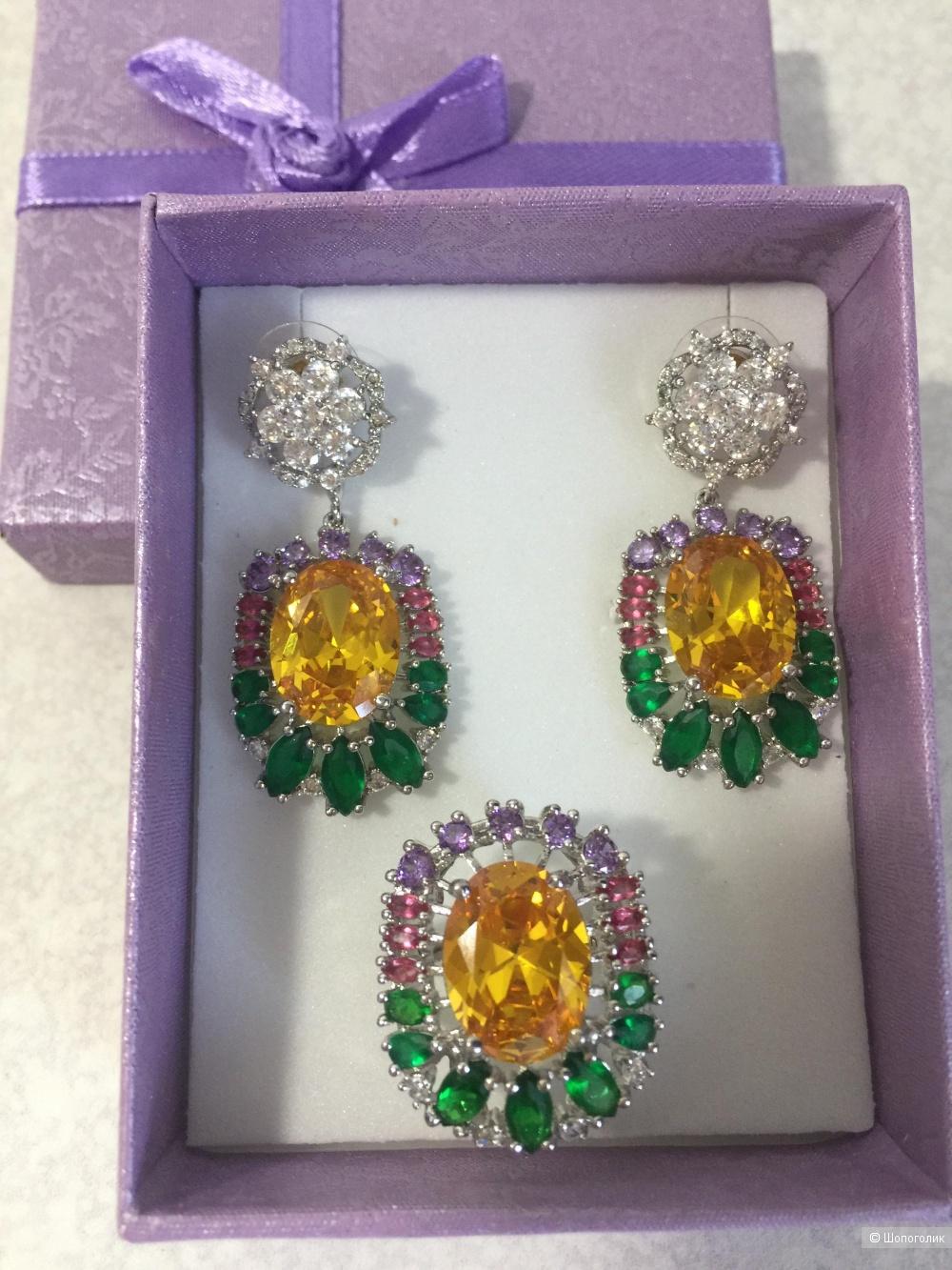 Комплект серьги и кольцо бренд Selena.