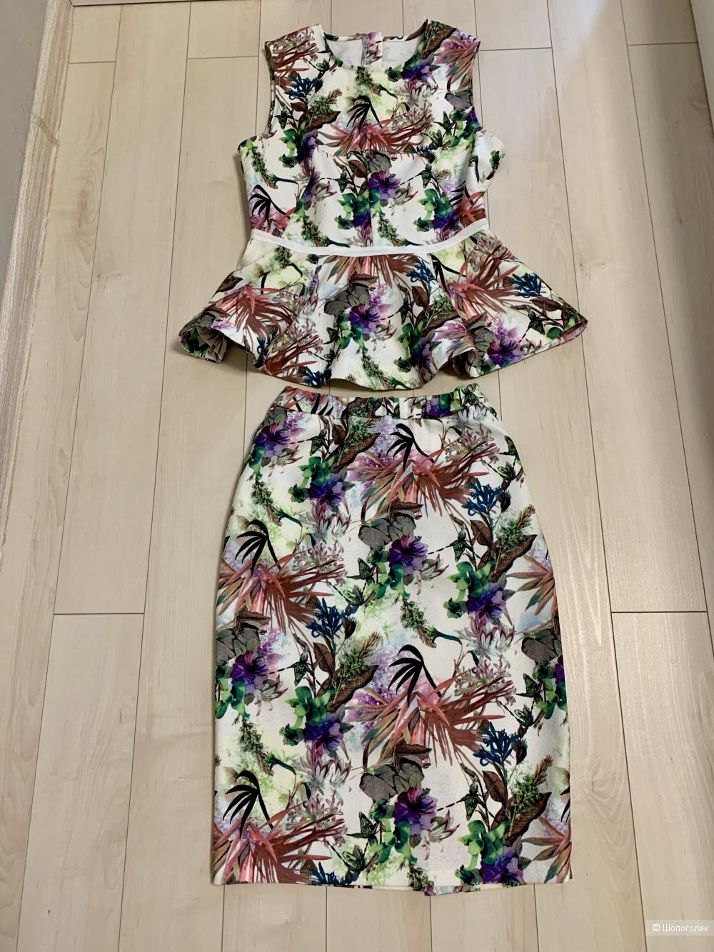 Костюм юбка с баской Michaela, размер 40-42