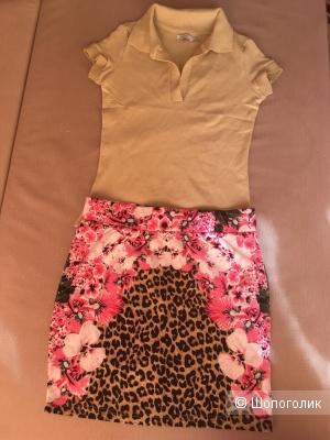 Комплект поло Zara и юбка Oodji, размер 42-44