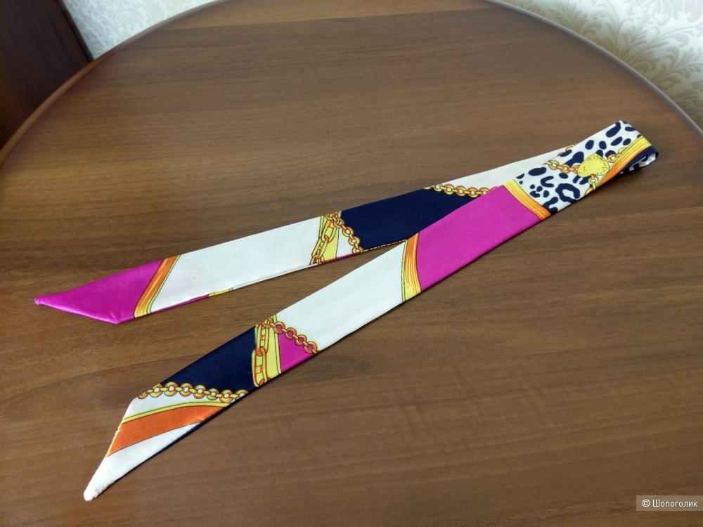Шелковая повязка-шарфик для сумок, на голову, волосы, руку, шею разноцветная, 4 см*100 см.