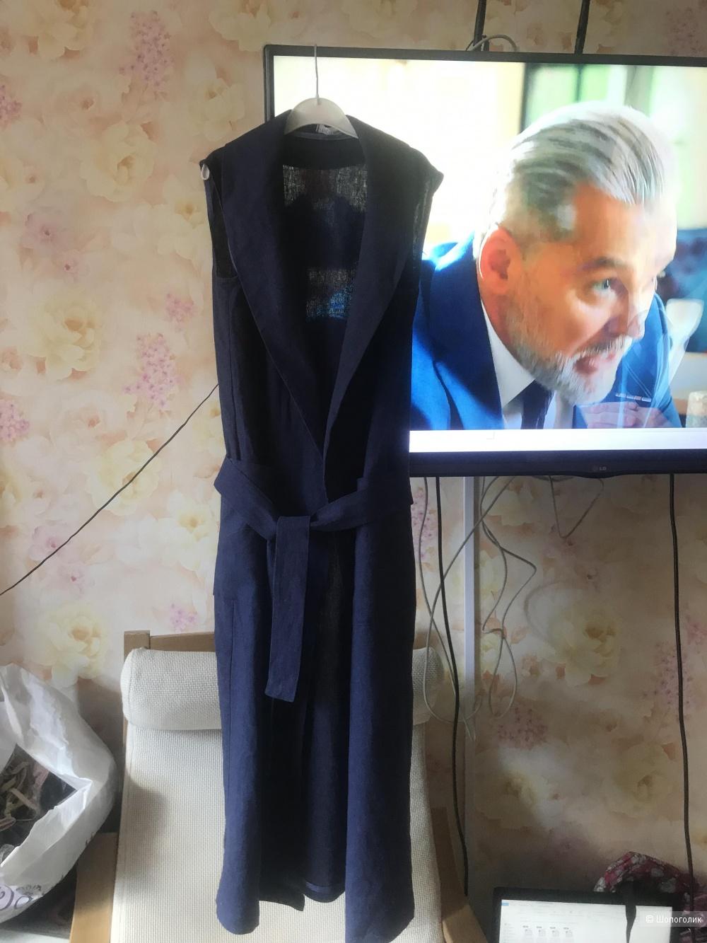 Синее платье-халат Bulavka.store на 42 размер