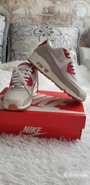 Женские кроссовки  Air Max 90 QS City Pack New York Strawberry Cheesecake Beige/Red (5.5) 36RUS