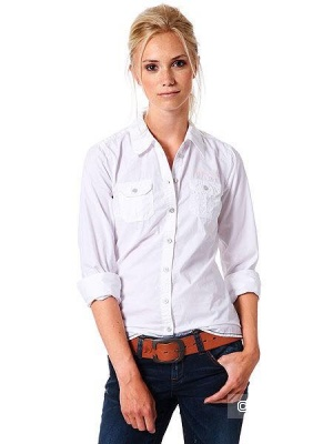Рубашка из хлопка и льна Tom Tailor, 36 размер, рус.42-44