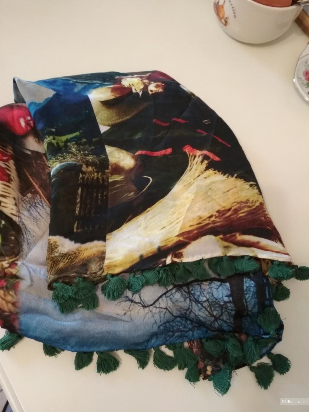 Шелковый платок Striessnig с кистями,  98 на 98.