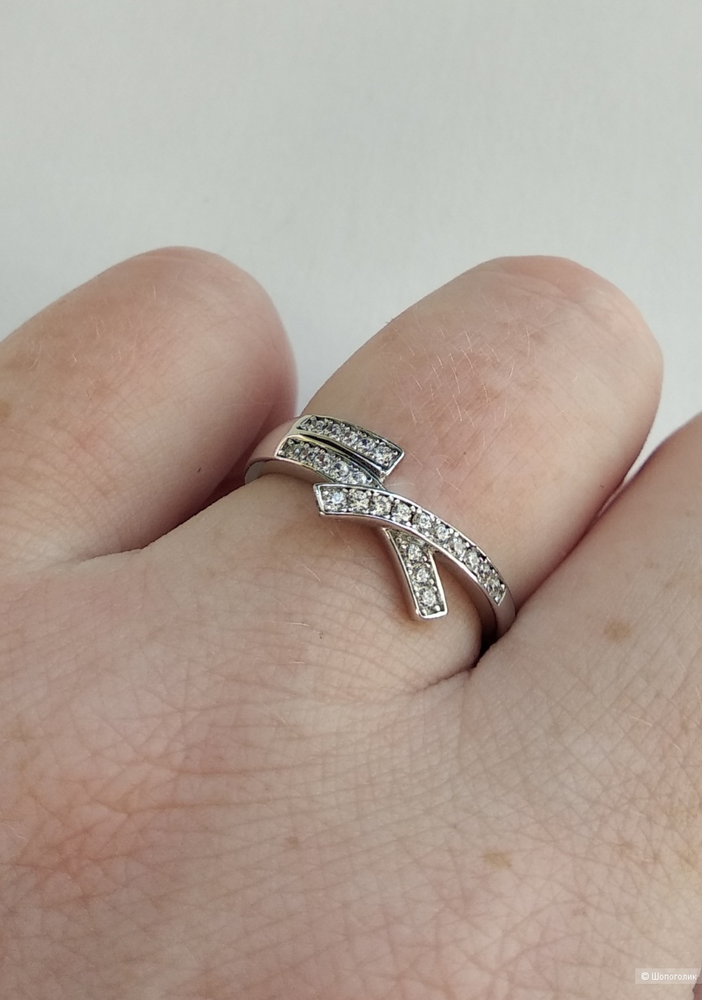 Кольцо, р.17-17,5, серебро 925 + фианиты