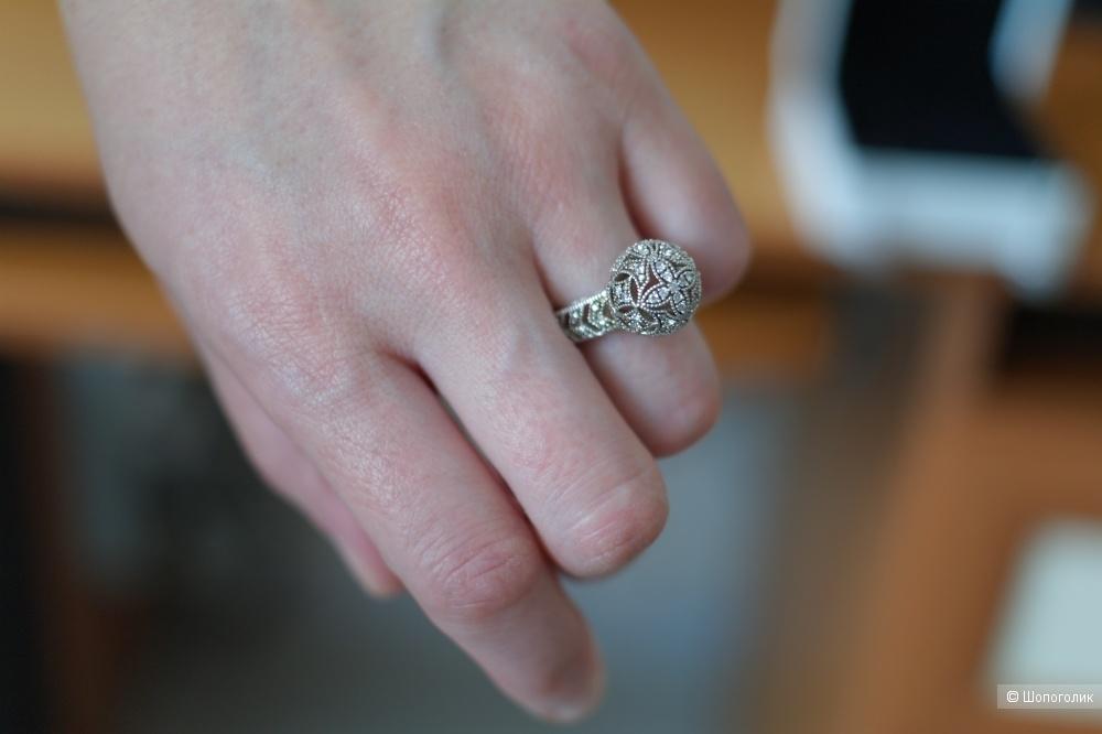 Серебряный комплект кольцо + серьги