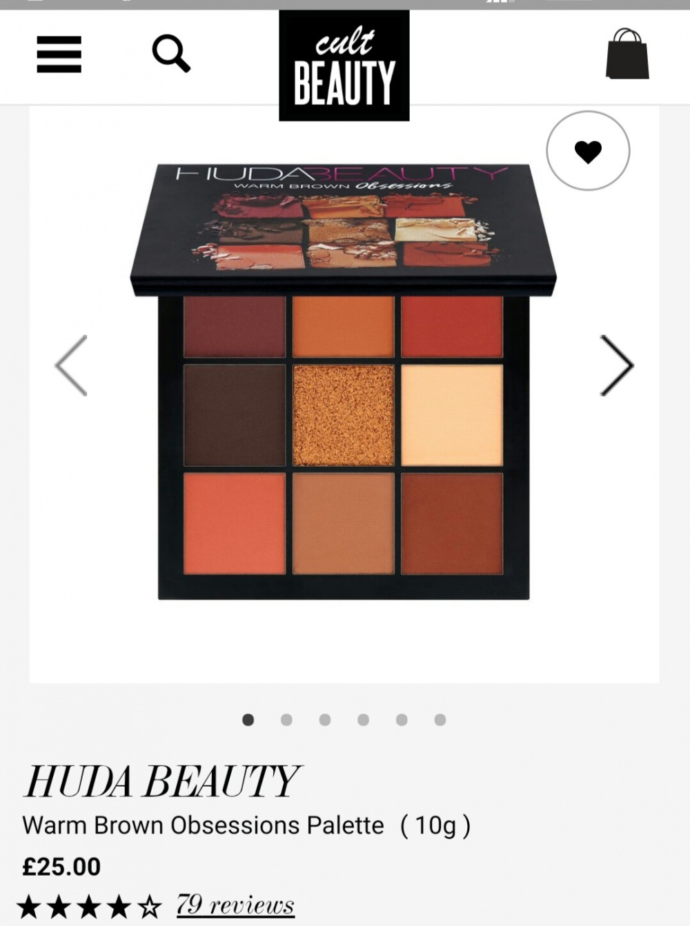 Палетка теней HUDA BEAUTY Warm Brown Obsessions Palette ( 10g )