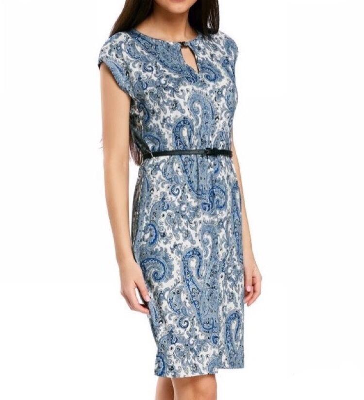 Платье oodji на поясе, размер 50/52