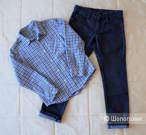 Джинсы и рубашка Benetton, размер M (130 см)