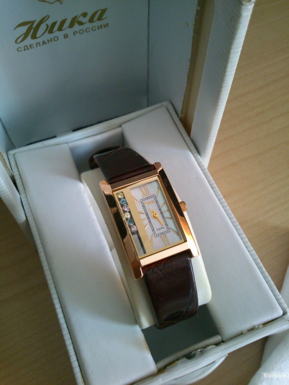 """Часы наручные """"Ника"""" электронно-механические кварцевые в золотом 585 корпусе."""