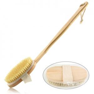Щетка массажная антицеллюлитная с длинной съемной ручкой (деревянная)