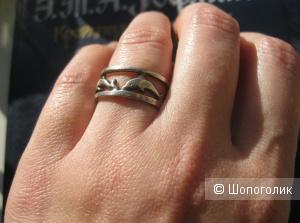 """Серебряное кольцо """"Дельфины"""", размер 16,5"""
