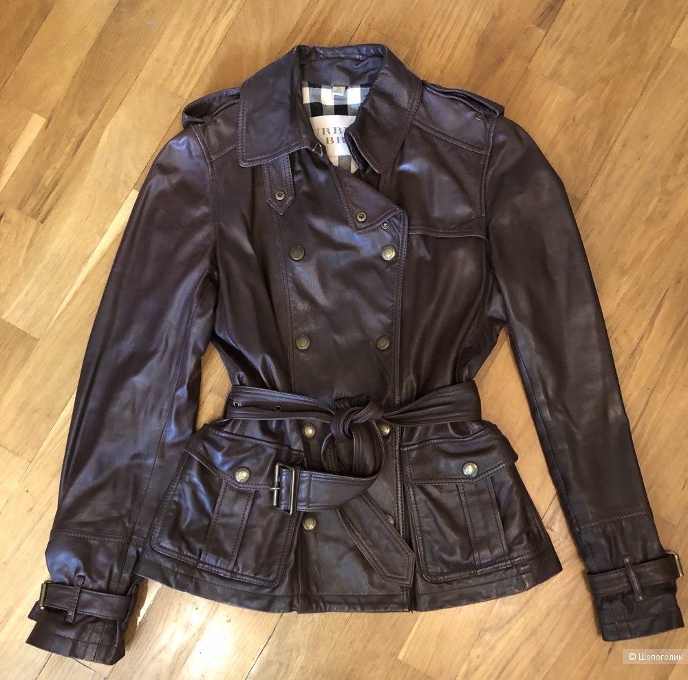 Кожаная коричневая куртка Burberry, UK 8, US 4, IT 40