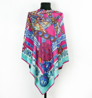 Шаль-платок женский - Hermes, 130*130 см. (pink)