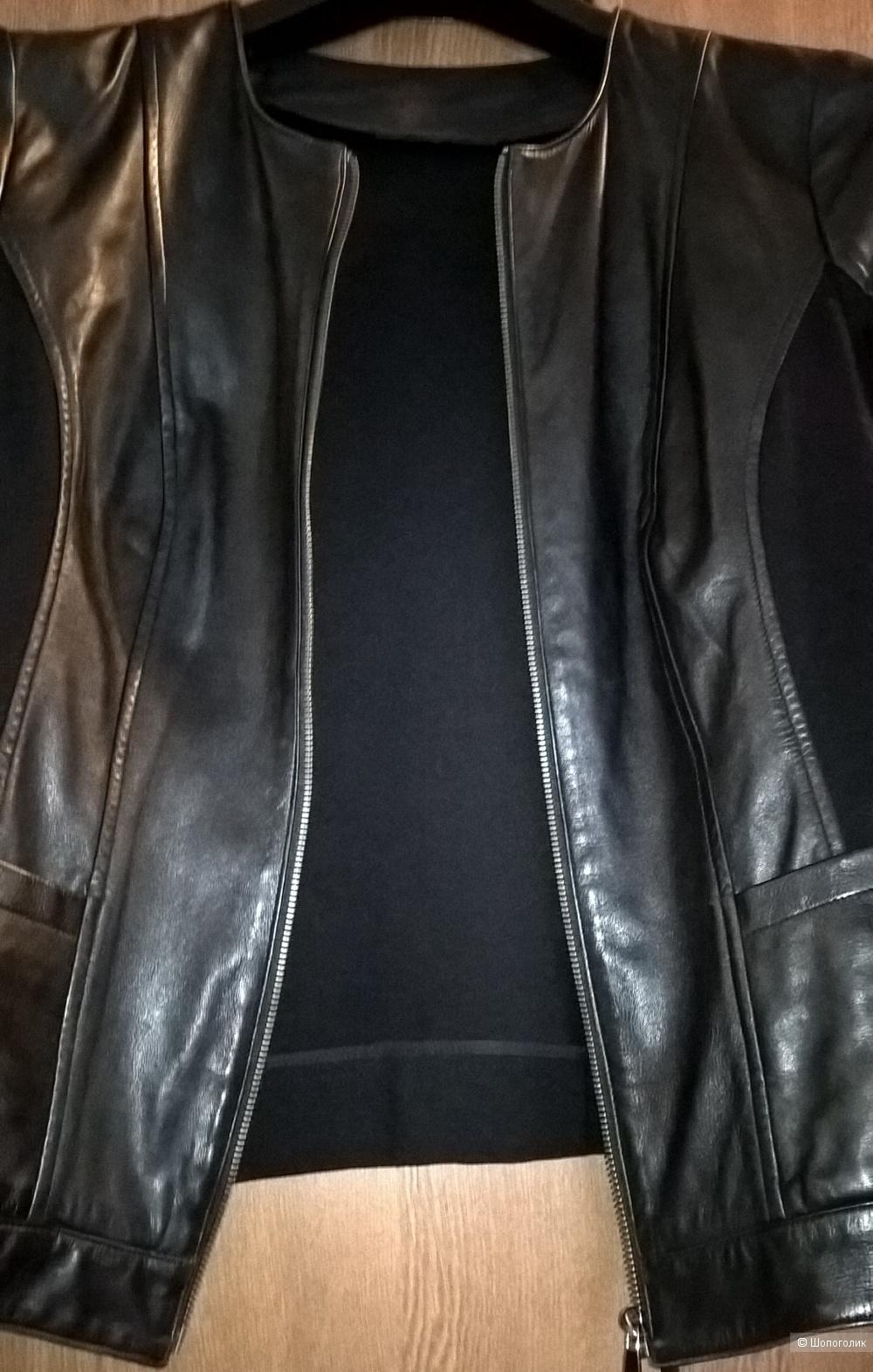 Куртка кожа с плотным трикотажем 46-48
