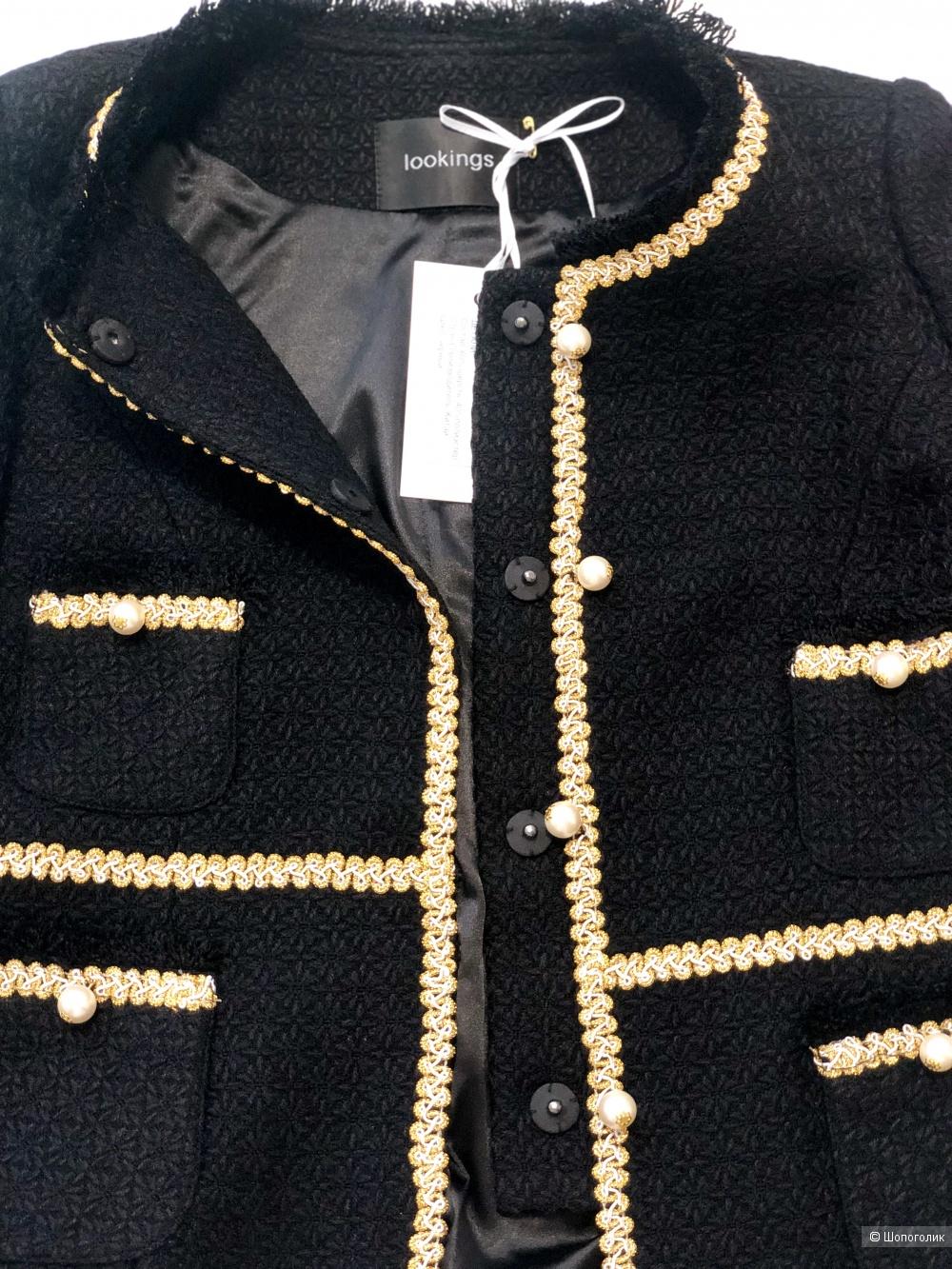 Твидовый костюм с украшением Lookings, S