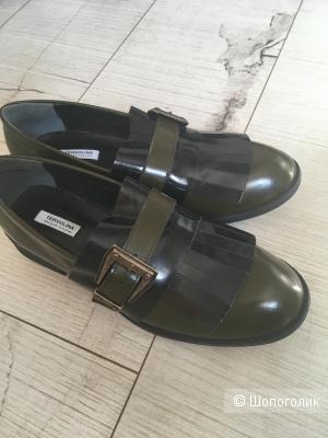 Кожаные туфли цвета хаки Tervolina 37 р.