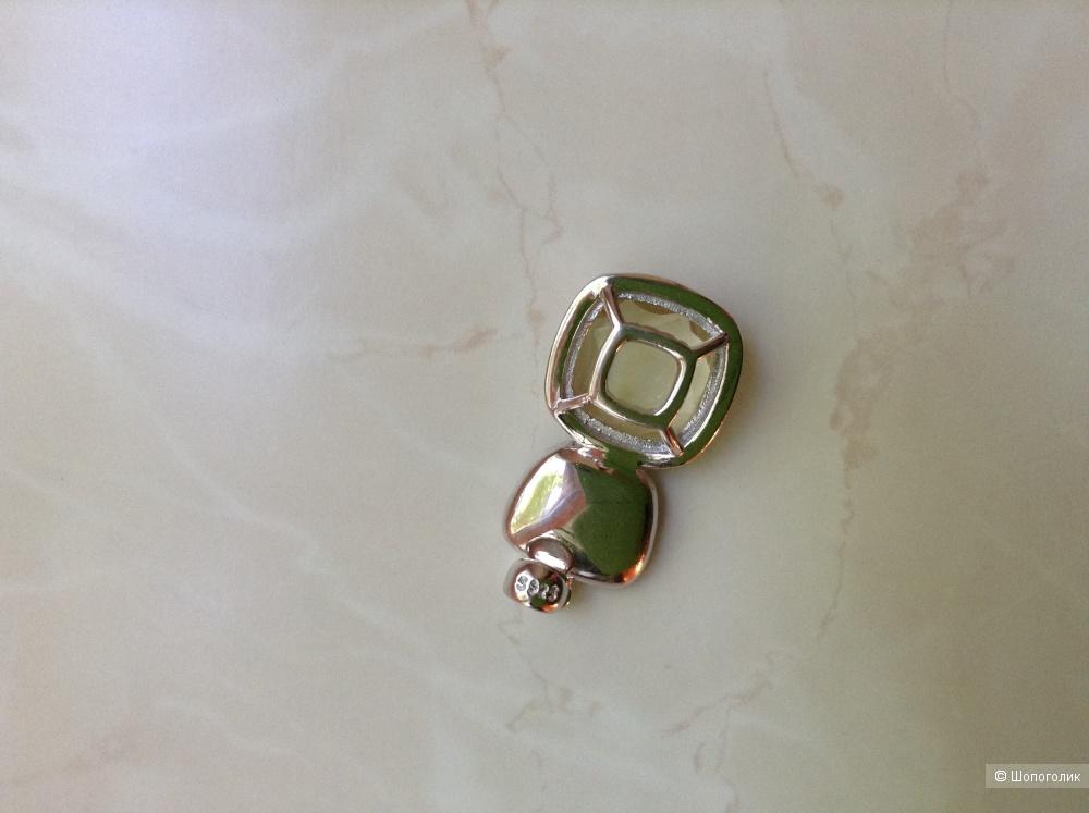 Серебряный набор из кольца и кулона с натуральным лимонным кварцем , размер 17