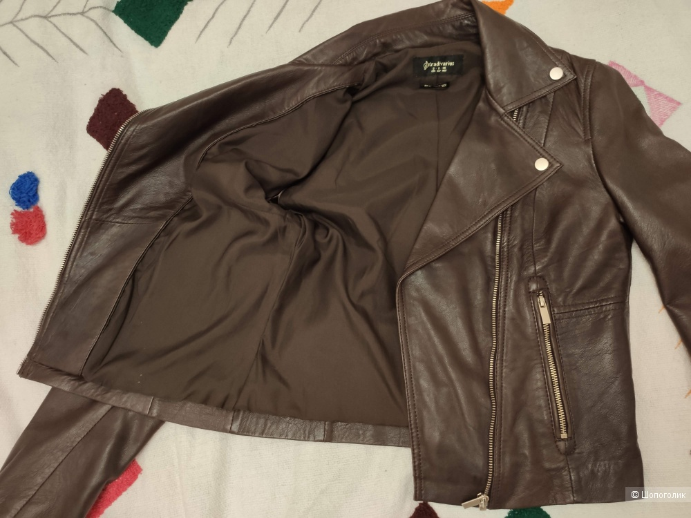 Кожаная байкерская куртка Stradivarius XS-S