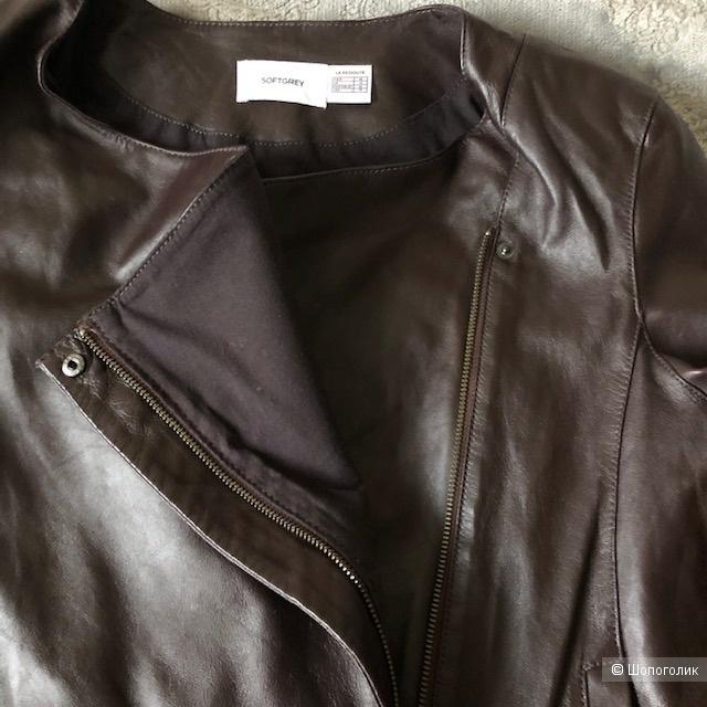 Кожаная куртка Soft Grey,46-48