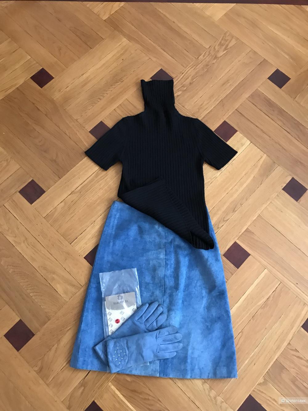 Комплект юбка замша Calvin Klein/перчатки No Brand 7,5/водолазка-безрукавка Alain Manoukian,44 рус